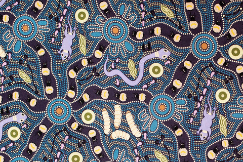 Bush Tucker Blue Aboriginal Pattern Fabric Per Metre