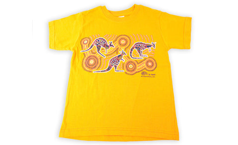 T Shirt Child - Vikkiland Kangaroo Yellow Design