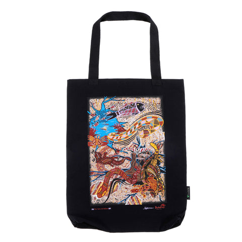 Turn Of Nature Black Large Tote Bag
