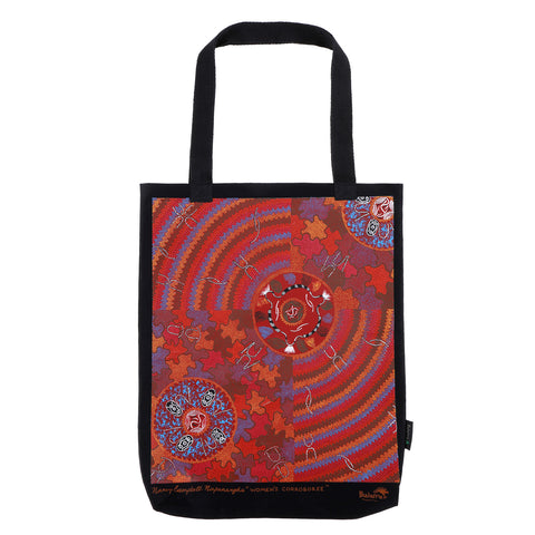 Womens Corroboree On Black Large Tote Bag