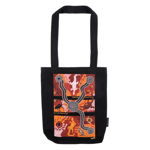 Waterhole Dreaming Black Tote Bag SMALL