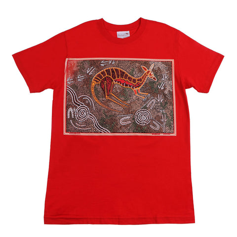 T Shirt Adult - Kangaroo Hunting Red Design
