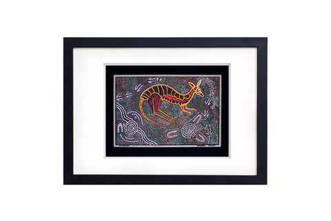 Kangaroo Hunting Black Art Print