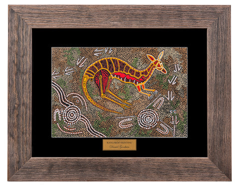 Bulurru Aboriginal Art Canvas Print - Kangaroo Hunting By Daniel Goodwin
