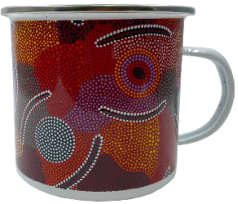 Bulurru Aboriginal Design Pannikin Mug 9cm Enamel - 2 Designs To Choose From