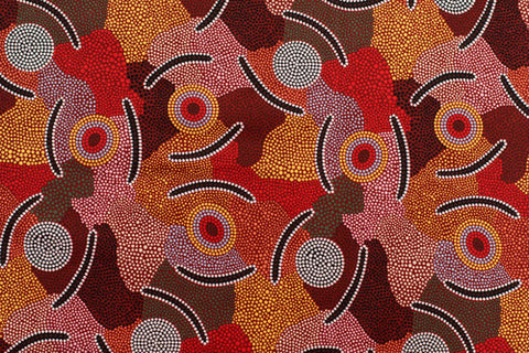 Mans Ceremony Aboriginal Pattern Fabric Per Metre