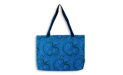 On Walkabout Blue Large Tote Bag
