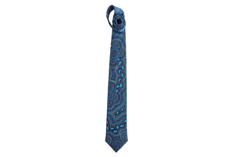 On Walkabout Blue Silk Tie