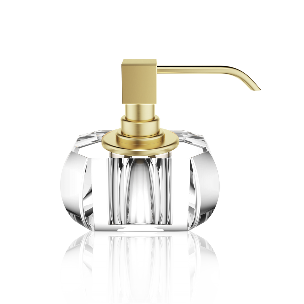 Soap Dispenser Kristall  Crystal Clear - Matte Gold