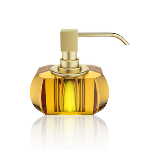 Soap Dispenser Kristall Amber - Matte Gold