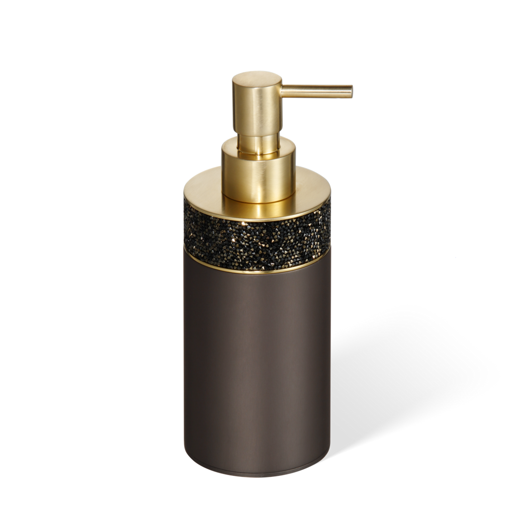 Swarovski Crystals - Rocks soap dispenser free standing dark bronze / matte gold