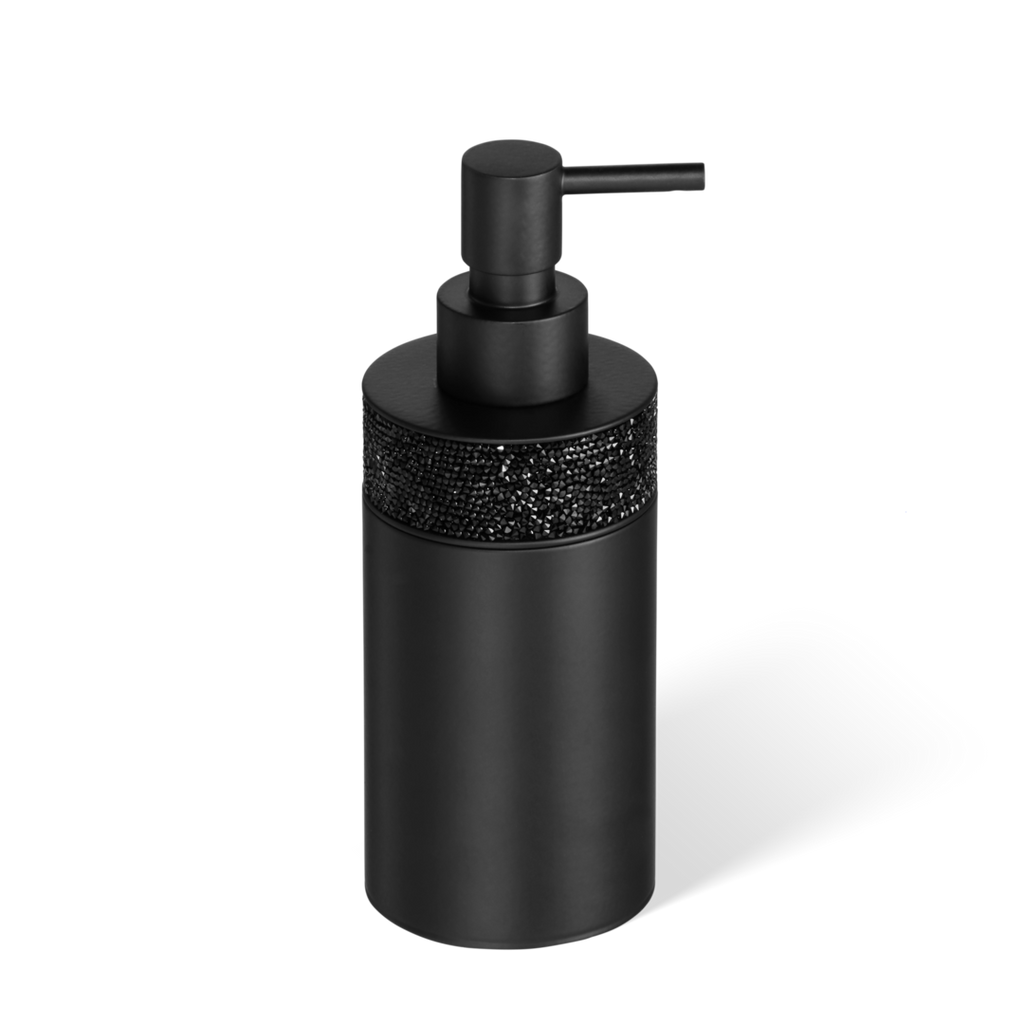 Swarovski Crystals - Rocks soap dispenser free standing matte black