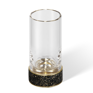 Swarovski Crystals - Rocks tumbler / toothbrush holder dark bronze / matte gold + clear glass