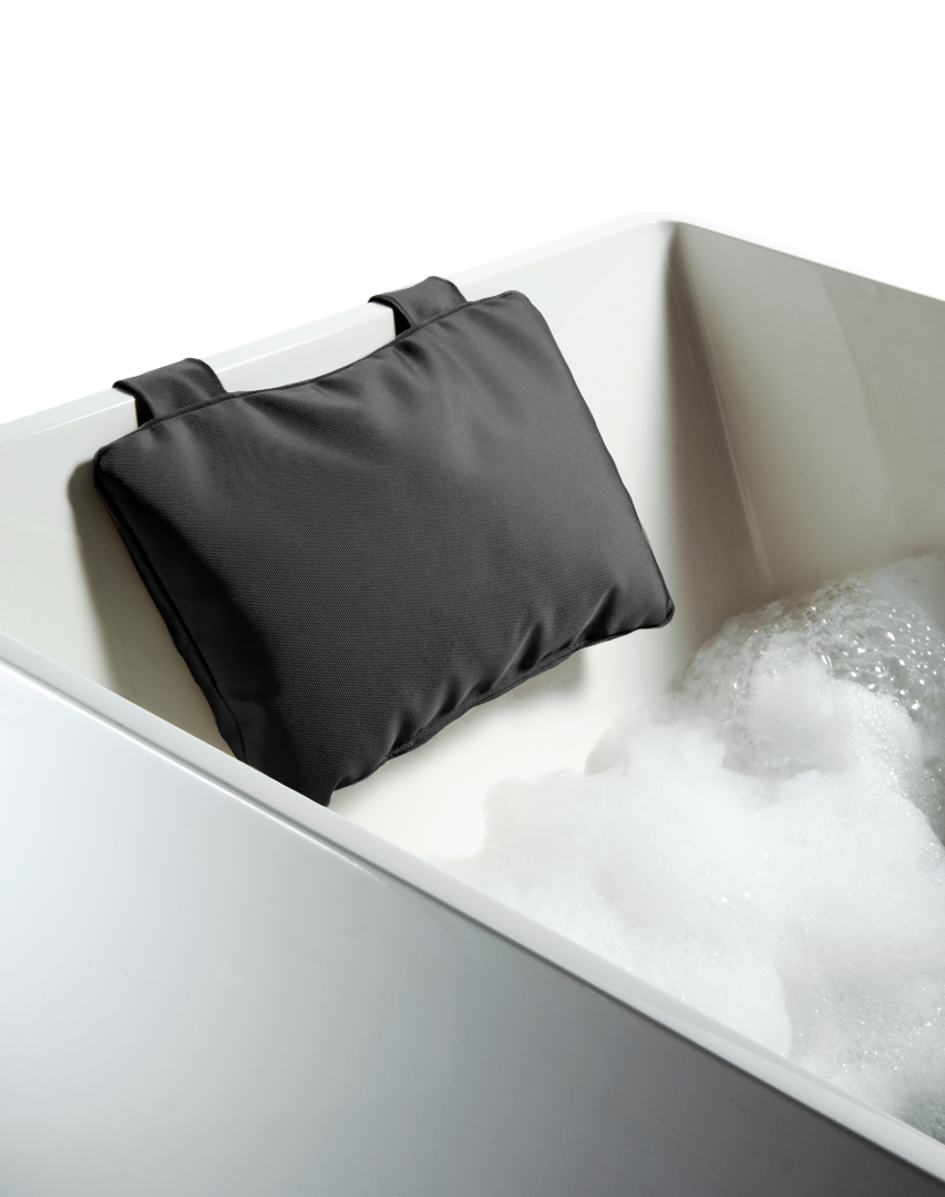 Loft Bath Pillow with Suction Cups - Black Nylon