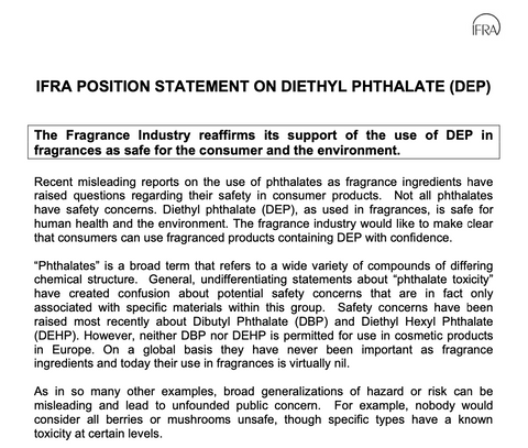 IFRA POSITION STATEMENT ON DIETHYL PHTHALATE (DEP)