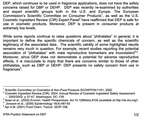 IFRA POSITION STATEMENT ON DIETHYL PHTHALATE (DEP) Page 2