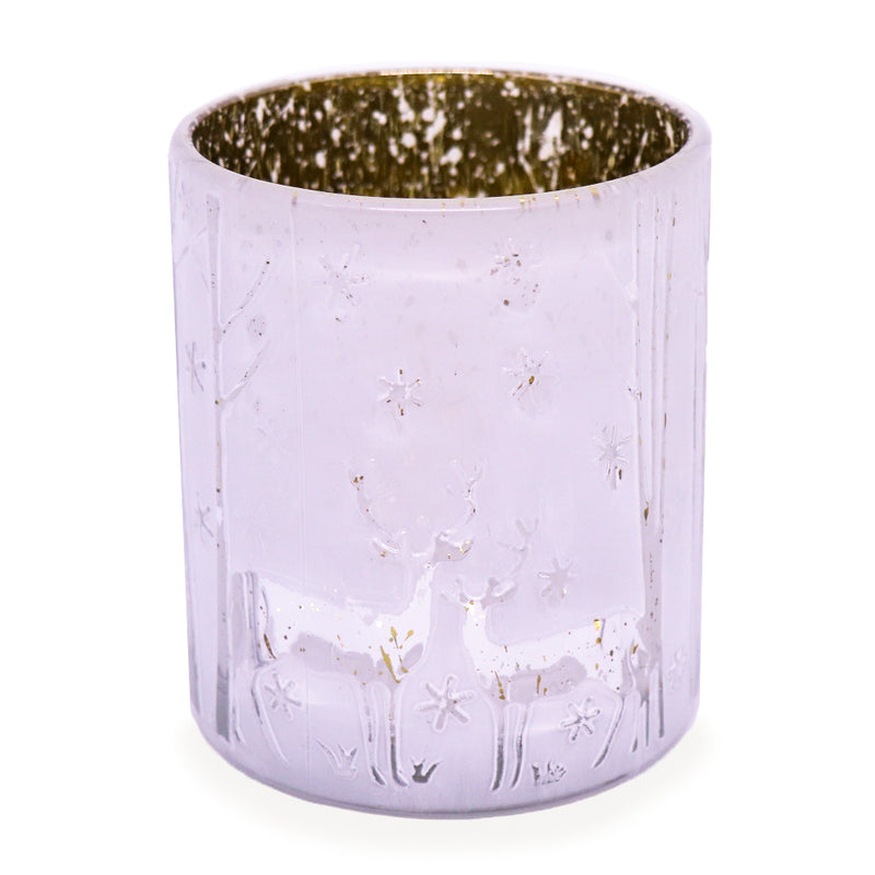 Embossed Reindeer Jar - White/Gold