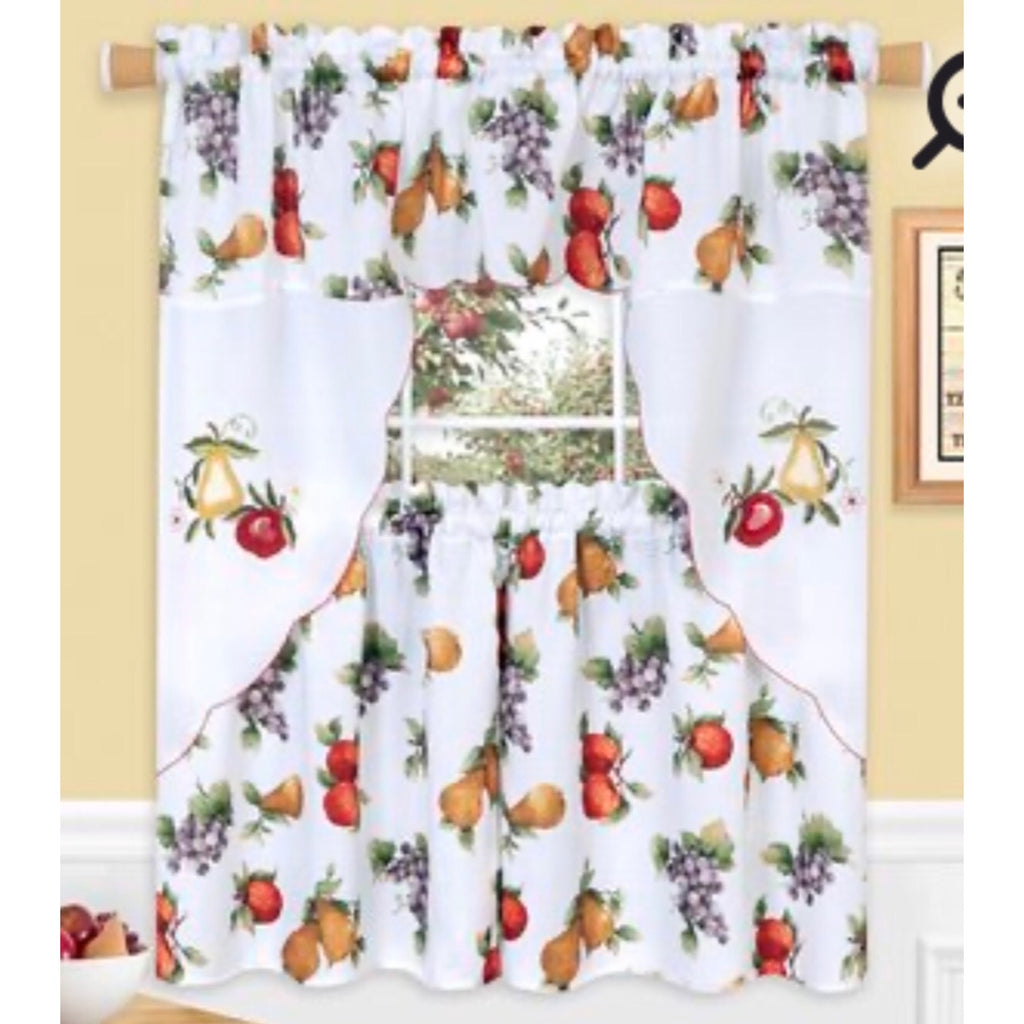 "Ambrosia - 3-pc 24"" Kitchen Curtain Set"