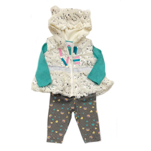 Real Love -Infants 3 Piece Faux Fur Vest Set