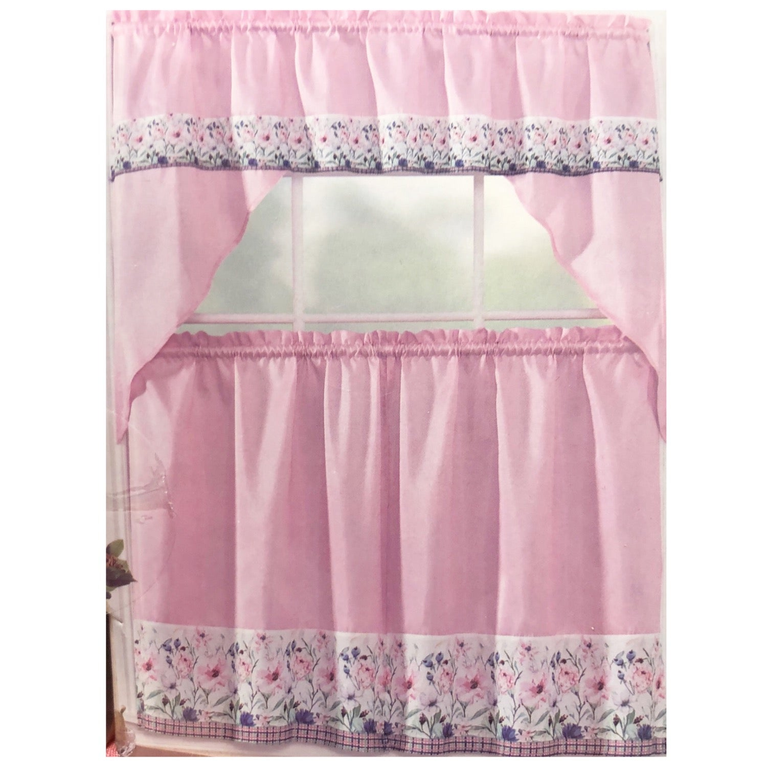 "Floral - 3-pc 36""  Kitchen Curtain Set"