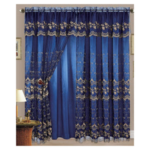 "Aliya 84"" Embroidered Panel with Attached Valance"