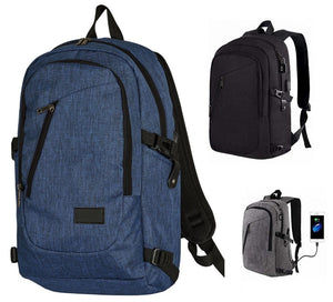 "17"" Multi Pocket USB Travel Laptop Backpack"