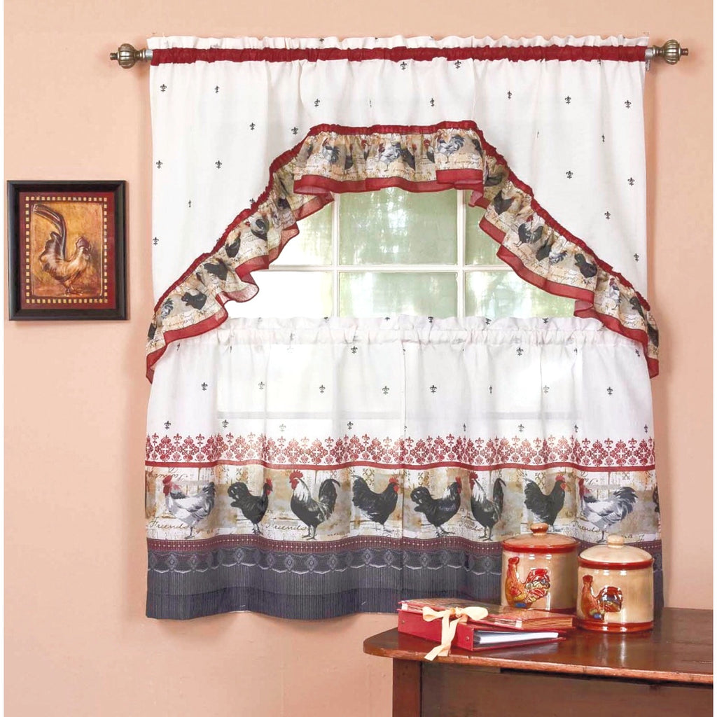 "Rooster   - 3-pc 36"" Kitchen Curtain Set"