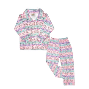 Mon Petit Girls Kitty 2-Piece Flannel Pajamas