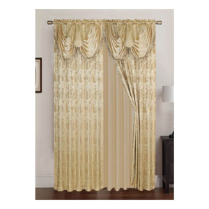 Clayton Jacquard 84-inch Rod Pocket Curtain Panel Pair with Attached 18-inch Valance