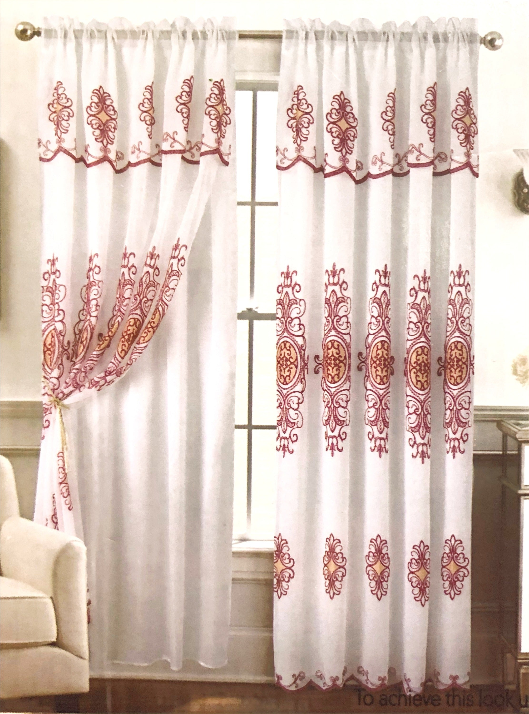 Romela - Single Embroidery Panel with Attached Valance