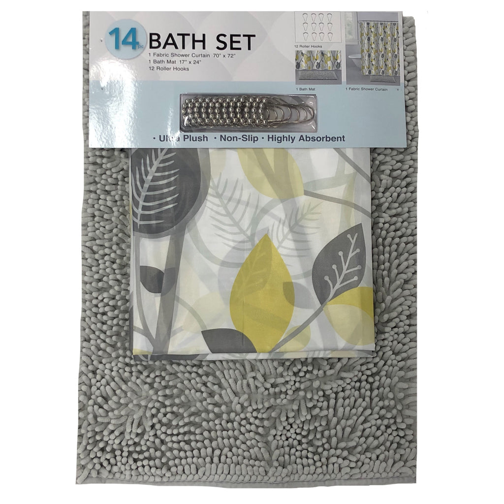 14 pc Grey Bath Rug Set