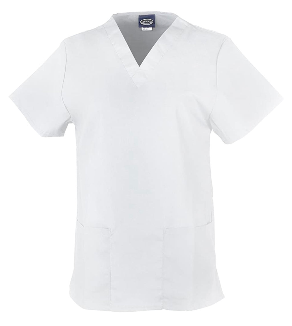 Unisex Medical Scrub V-Neck Top -White