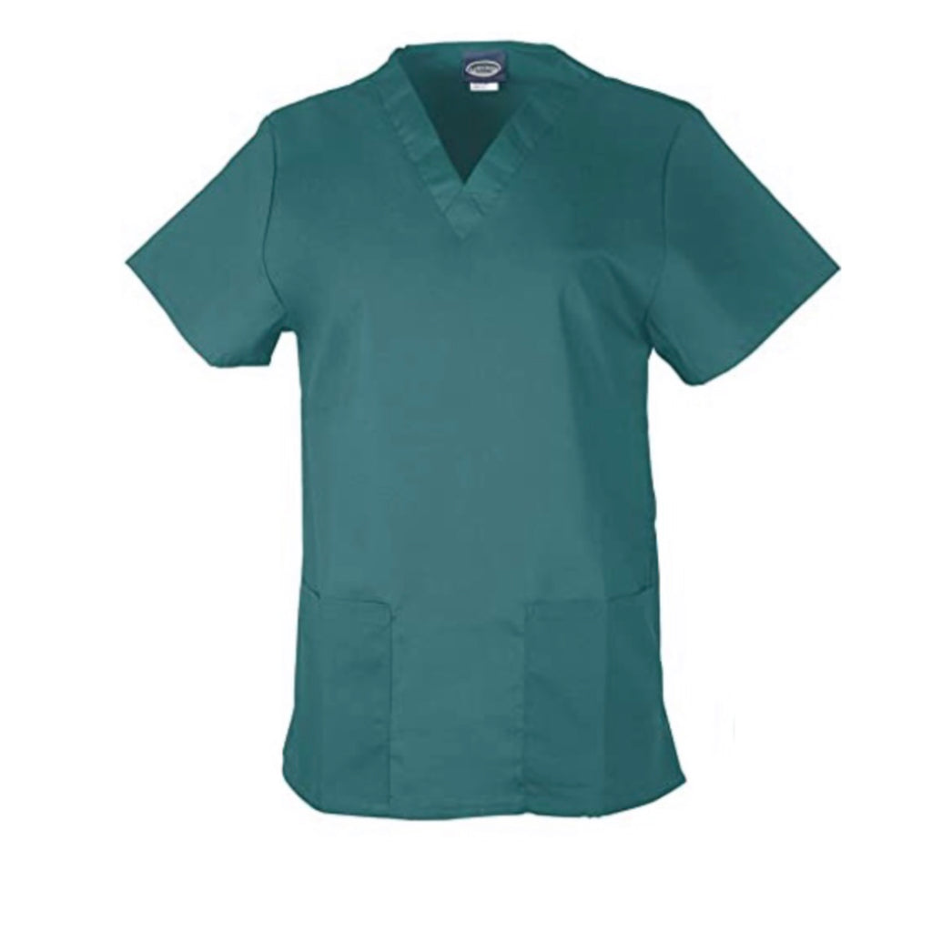 Unisex Medical Scrub V-Neck Top- Hunter Green