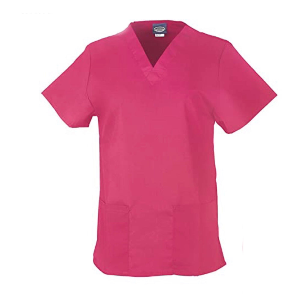 Medical Scrub V-Neck Top - Hot Pink