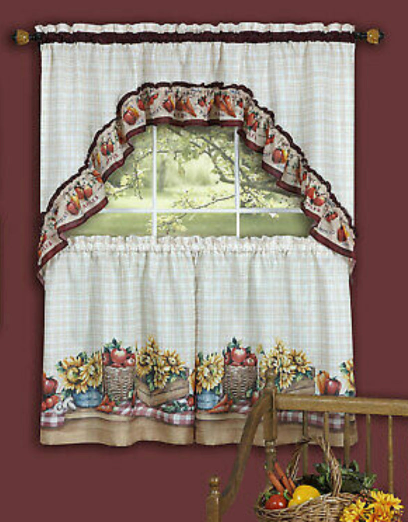 "Farmers Market- 3-pc 24"" Kitchen Curtain Set"