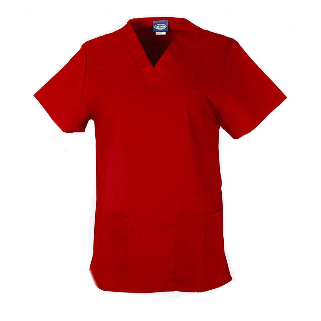 Unisex Medical Scrub V-Neck Top- Red
