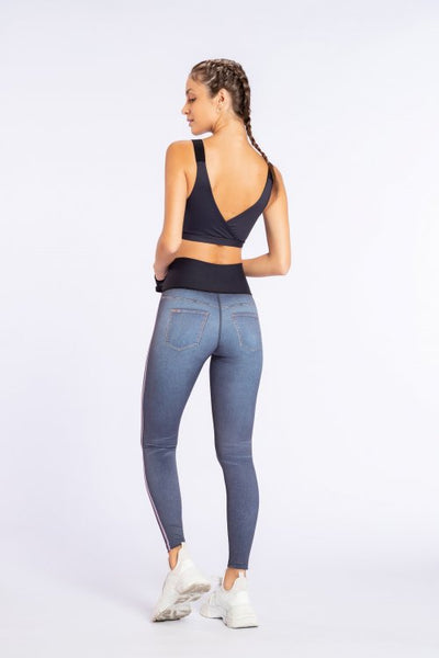 Deep Garden Denim Reversible Legging