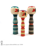 Kokeshi. NEW! Modern Striped Traditional Kokeshi by Minae Kamata. Ltd Edition.