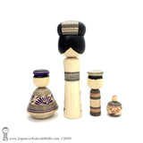 BRAND NEW! Delightful Group of Four Traditional (dento) Kokeshi Dolls by Yoshimi Koyama.