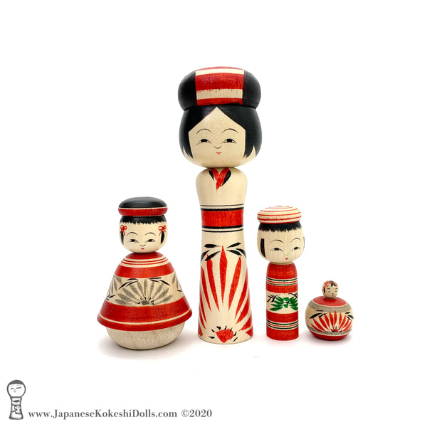 Kokeshi. BRAND NEW! Charming Family of Four Traditional Kokeshi Dolls by Yoshimi Koyama.