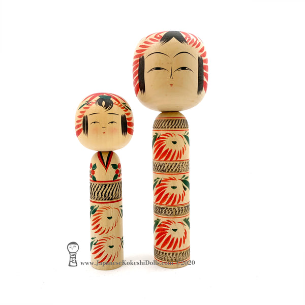 Kokeshi. Exquisite Pair of New Dento Kokeshi Dolls by Yoshio Ogasawara.
