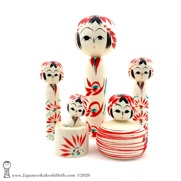 Kokeshi. NEW! Darling Family of Kokeshi Dolls. BIG Eyes. Red Stripes. By Tsukasa Wagatsuma.