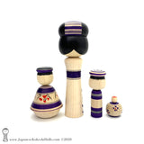 NEW! Family of Four Unique Traditional Kokeshi Dolls by Yoshimi Koyama.