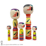 Kokeshi. One-of-a-Kind Group of Kokeshi Dolls by Takashi & Minae Kamata