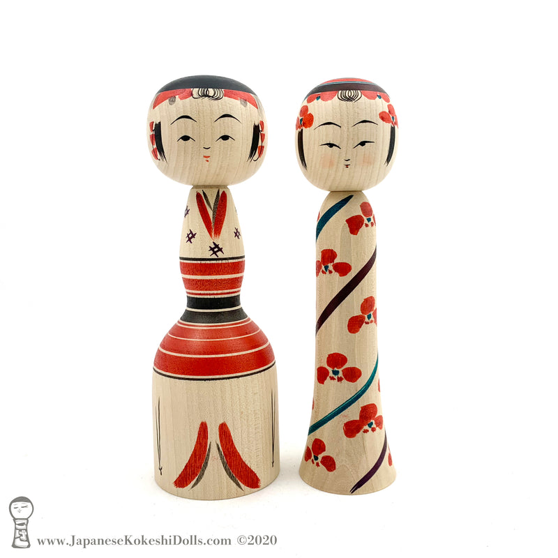 Kokeshi, Brand New! ADORABLE Brother-Sister Pair of Kokeshi Dolls by Tamio Niiyama