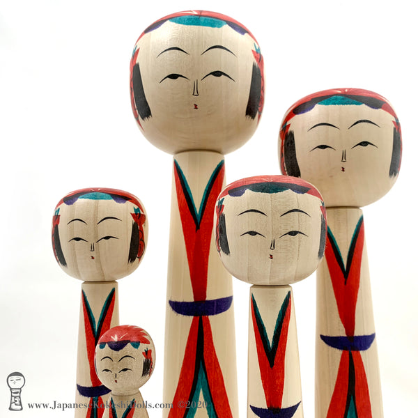 NEW!! Five AMAZING Kokeshi Dolls by Toshio Takada. Traditional Kokeshi. Modern Kimonos.