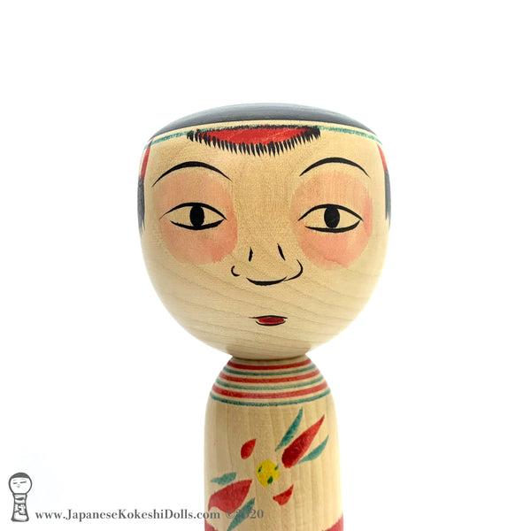 Kokeshi. RARE Bozu Kokeshi Doll with Bewildered Expression. Kokeshi Masterpiece.