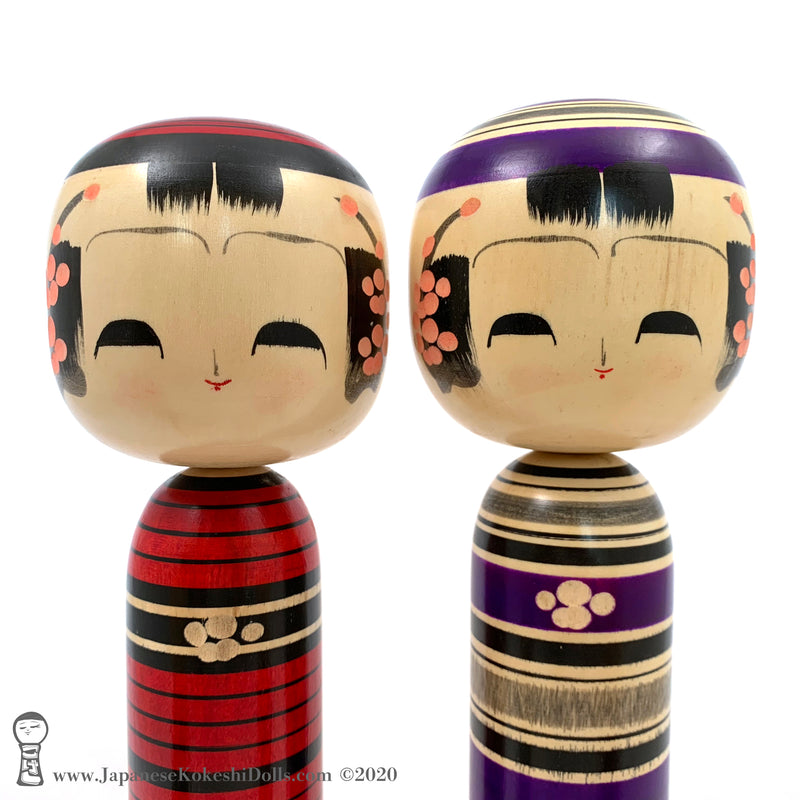 RARE COLORS! Vintage Kokeshi Family by Award-winning Artist Isao Sasaki. Fabulous!