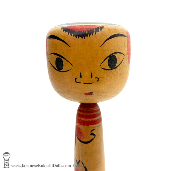 Kokeshi. QUIRKY Takobozu / Zenkichi style Kokeshi Doll with Delightful Eyes.