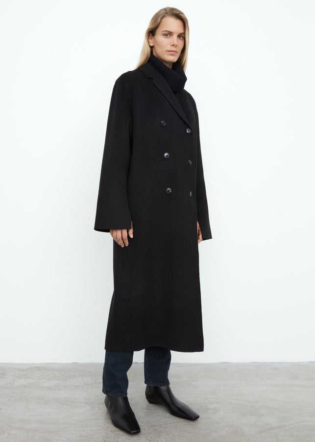 Double wool overcoat black